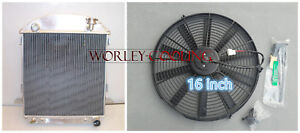 3 Row Model T Chev Bucket Ford Grill Shells 1924 1927 Hotrod Radiator 16 Fan