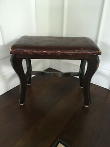 Vintage Antique Folk Art Primitive English Faux Leather Footstool Bench