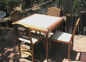 Vintage Leg O Matic Lorraine Metal Mfg Folding 4 Chairs And Table Set