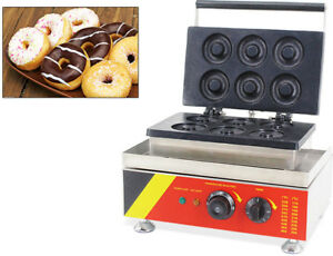 6 Pcs Electric Donut Maker Waffle Baking Machine Snack Maker 110v