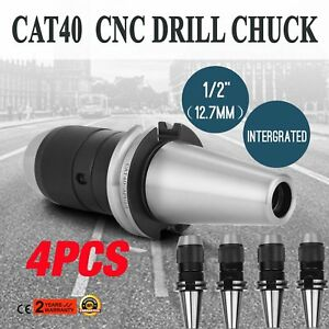 4pcs Cat40 Drill Chuck 1 2 Fits On Haas Cnc Spindle Hardened Keyless New May