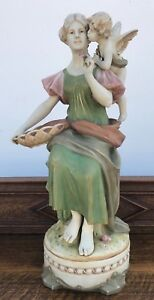 Royal Dux Bohemia Figurine Girl Cupid Putti 23 Flowers Rose Excellent