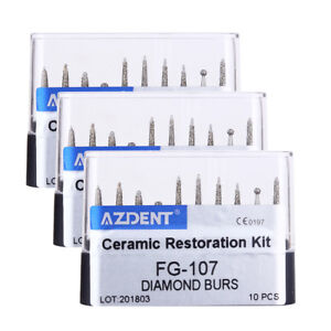 Dental Diamond Burcrown Anteri Porcelain Preparation repair Kit Fg 107 10pcs kit
