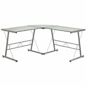 Flash Furniture Glass L shape Computer Desk With Silver Frame Finish Fast Ship