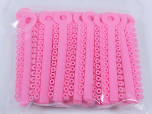 20pack Orthodontic Bracket Elastic Ligature Ties Dental Rubber Bands Chains Pink