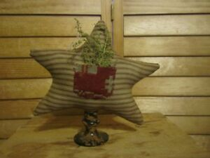 Primitive Star Make Do Barn Red Ticking Coverlet Pocket Sweet Annie 21