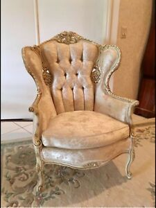 Wood Carved French Provincial Tufted Back Royalty Chair Violin Upper Trim