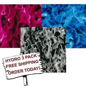 Hydrographic Film Water Transfer Printing Film Hydro Dip 3 Extreme Flame 3 Pack
