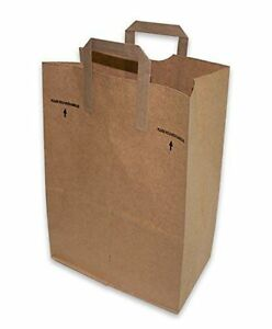 75 Count 12 X 7 X 17 Brown Kraft Paper Handle Grocery Shopping Bag