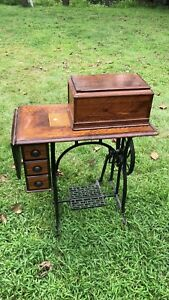 1876 Wheeler Wilson 8 Machine Cabinet And Treadle