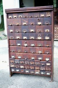 Antique 1900s W C Heller Apothecary Hardware Cabinet Drawers Motorcycle Store