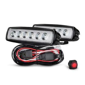 2pcs 6 Inch 18w Led Work Light Bar Spot Off road Lights With Wiring Harness Kit