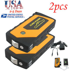 2 Battery Jump Starter 600a Peak Portable Car Suv Charger Booster Jumper Cables