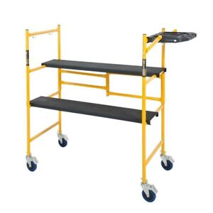 Mini Rolling Scaffold Folding W Shelf Adjustable Work Bench Ladder Wheels Steel