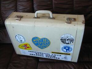 Old Vintage Swedish Cardboard White Suitcase Trunk Wood Country Musician