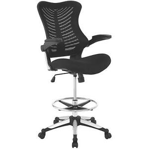 Modway Charge Drafting Chair In Black Reception Desk Chair Tall Office Chair