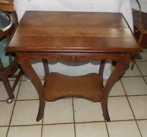Solid Quartersawn Oak Carved Lamp Table Parlor Table T600