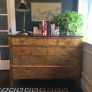 Antique Hollywood Regency Art Deco Neoclassical Gold Gilt French Dresser Chest
