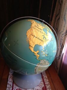 Vintage Usable Nystrom Globe Now Only 10 40 Cm 16 In Raised Terrain Crack