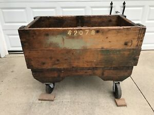 Wooden Industrial Large Rolling Cart Factory Railroad