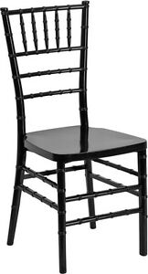 Black Resin Chiavari Chair Commercial Quality Stackable Wedding Chair
