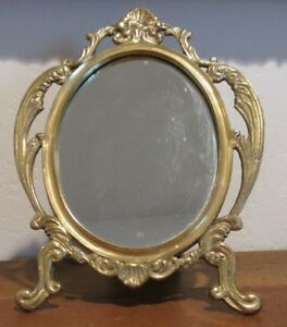 Vintage Ornate Brass Free Standing Mirror With Shell Scrolls