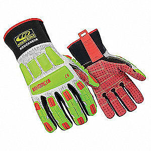 Mechanics Gloves impact Protection m pr 268 09 High Visibility Green red white