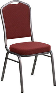 Banquet Chair Burgundy Patterned Fabric Restaurant Chair Crown Back Stacking