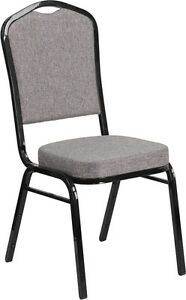 10 Pack Banquet Chair Gray Fabric Restaurant Chair Crown Back Stacking Chair