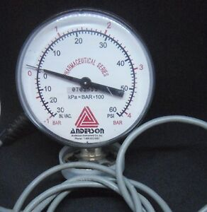 Anderson Pharmaceutical Series Tube Socket Pressure Gauge 30 60 Psi
