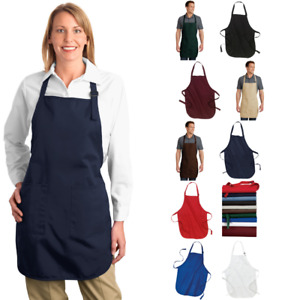 Full length Apron Cotton Stain Release Pockets Work Wear Food Service A500