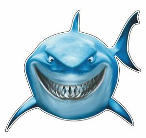 Great White Shark Cartoon Sticker Vinyl Decal Boating Boat Beach Ocean Fish