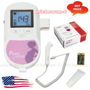 Lcd Pocket Fetal Doppler Baby Heart Sound Prenatal Monitor 3m Probe gel battery