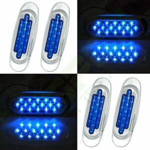 4 Set Blue 16 Led Boat Trailer Utility Truck Side Marker Lamp Trailer Tail Light