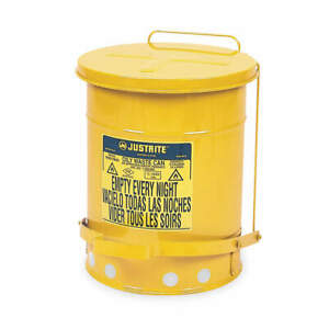Justrite Oily Waste Can 6 Gal steel yellow 09101