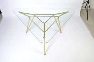 Mid Century Maurizio Tempestini For Salterini Geometric Iron Table With Glass To