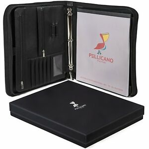 Leather Portfolio Padfolio Organizer College Business Planner Notebook Executive