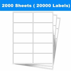 20000 Premium Blank Shipping Labels 2 X 4 Self Adhesive 2000 Sheets Usps Fedex