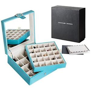 Jackcubedesign Leather 45 Slots Earring Organizer Storage Box Display With Tray