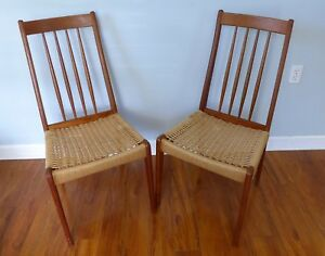 Pair Of Danish Modern Teak Dining Chairs Paper Cord Seats Vintage Tall Back Mcm