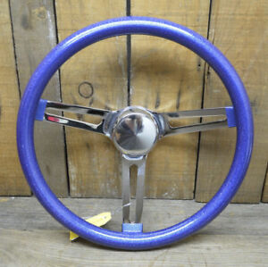 Vtg Style Blue Metalflake Steering Wheel Rat Hot Rod Custom Bomb Lowrider Vw Van