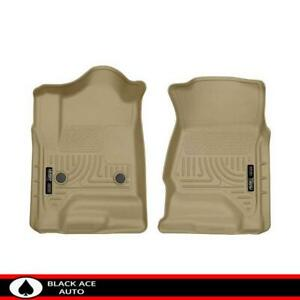 Husky Weatherbeater Front Floor Mats Tan For Gm Truck suv 2015 18 Ext crew Cab