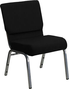 21 Extra Wide Black Color Fabric Church Chair With Silver Vein Frame