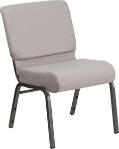 21 Extra Wide Gray Dot Fabric Color Stacking Church Chair Silver Vein Frame