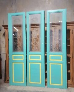 Set Of Three Salvaged Antique French Interior Doors With Etched Glass 9 6 Tall