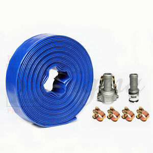 Heavy Duty 1 1 2 1 5 X 50 Ft Feet Pvc Lay Flat Water Pump Discharge Hose
