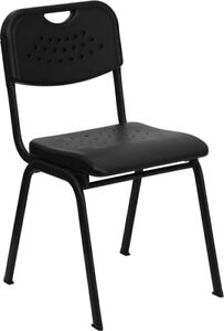 880 Lb Capacity Black Plastic Stack Chair With Black Powder Coated Frame