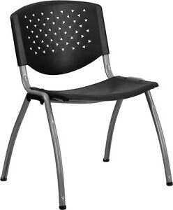 Heavy Duty Black Plastic Office Guest Chair Waiting Room Chair Office Chair