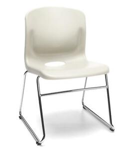 Multi use Sled Base Ivory Plastic Stack Office Side Chair Waiting Room Chair