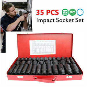 35pcs 1 2 Drive Deep Impact Socket Tool Set Metric Garage Workshop Tools 8 32mm